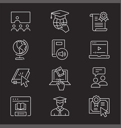 online education icon set isolated vector image