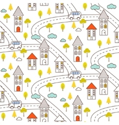 Outline countryside seamless pattern vector