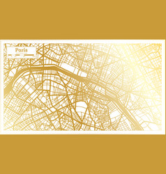 Paris france city map in retro style in golden vector