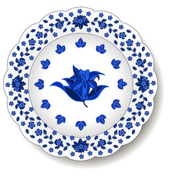 Porcelain plate with blue on white abstract vector