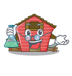 Professor a red barn house character cartoon vector