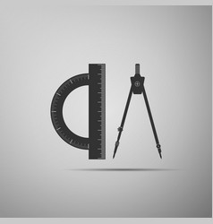 protractor and drawing compass icon isolated vector image