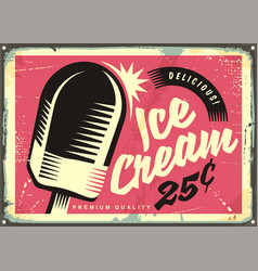 Retro fifties tin sign with delicious ice cream vector