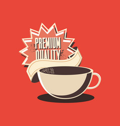 retro shopping coffee cup premium quality grunge vector image