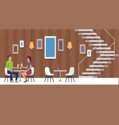romantic date and restaurant dinner flat cartoon vector image