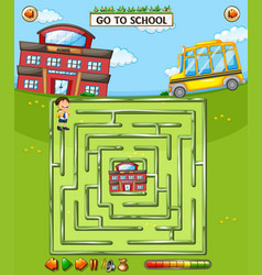 school maze game template vector image