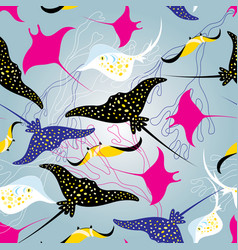seamless pattern different stingray vector image