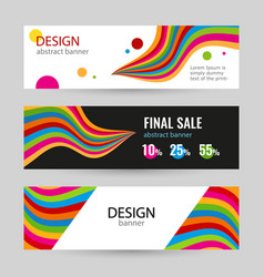 set bright banners with color line on white and vector image