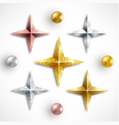 set golden realistic stars and balls vector image