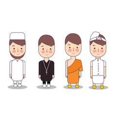 Set of religion people different characters vector