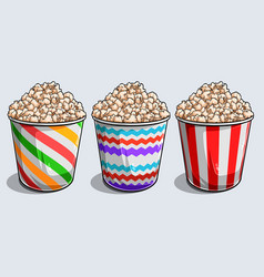 Set striped boxes container with tasty vector