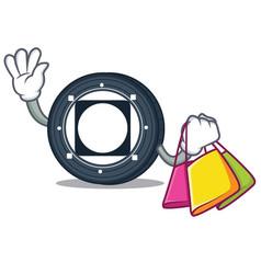 Shopping byteball bytes coin character cartoon vector