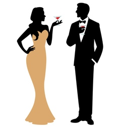 Silhouette of man and woman holding a cocktail vector image
