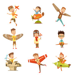 small children in pilot costumes dreaming vector image