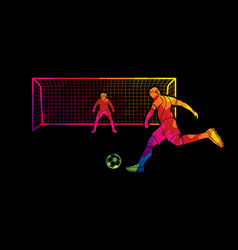 Soccer player kicking ball with goalkeeper vector