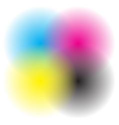 transparent cmyk circles blended - cmyk printing vector image