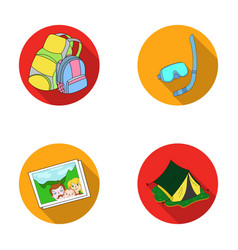 Travel vacation backpack luggage family vector