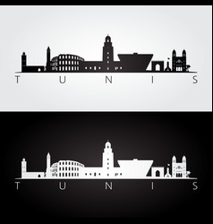 tunis skyline and landmarks silhouette vector image