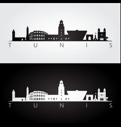 Tunis skyline and landmarks silhouette vector