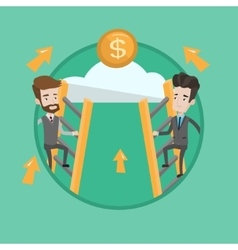 Two businessman climbing to success vector image