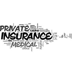 What is private medical insurance text word cloud vector