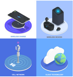 wireless technologies isometric colored icon set vector image