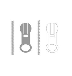Zipper grey set icon vector