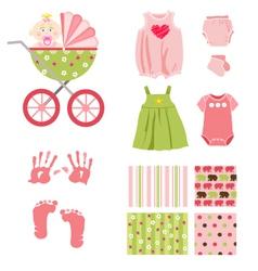 baby girl elements vector image vector image