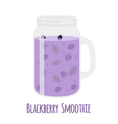 Blackberry smoothie in mason jar glass with vector