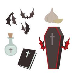cartoon dracula coffin symbols vampire vector image vector image