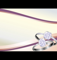 diamond rings sparkling on pink swirl background vector image vector image