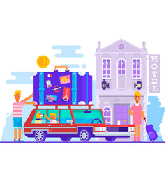 family father mother son travel lifestyle concept vector image