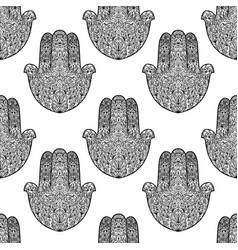 Hamsa pattern fatimas hand seamless background vector