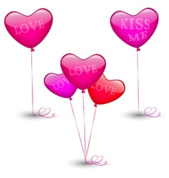 Set of festive balloons in the shape of heart vector image vector image