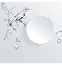 Abstract paper background with bird on the tree vector image