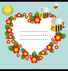 Background with flowers bees and sun vector image