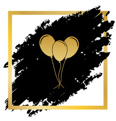 balloons set sign golden icon at black vector image vector image