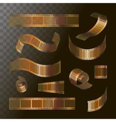 Camera film roll gold color 35 mm festival movie vector image