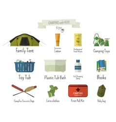 Camping with kids Tips Set of flat adventure vector image