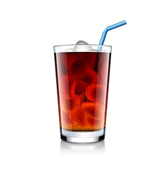 Cola glass with ice cubes isolated on white vector image vector image
