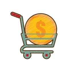Drawing shopping cart online coin dollar vector