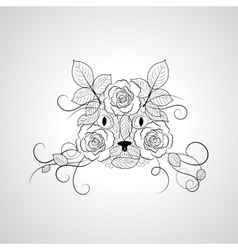 Hand drawn ornate graphic cat face vector image