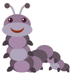purple caterpillar with happy face vector image