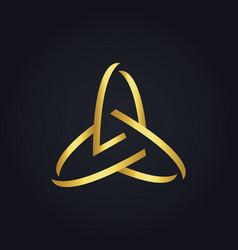three circle abstract technology gold logo vector image vector image