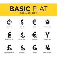 Basic set of exchange icons vector image