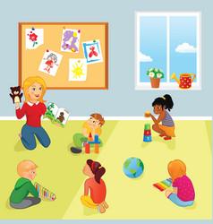 elementary school class teacher and kids vector image vector image