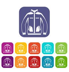 men winter jacket icons set vector image