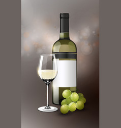 realistic white wine template vector image