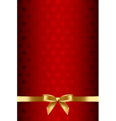 red background with hearts and gold bow vector image vector image
