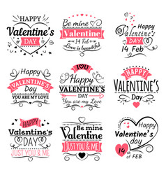 valentines day typography ribbon banners and vector image vector image